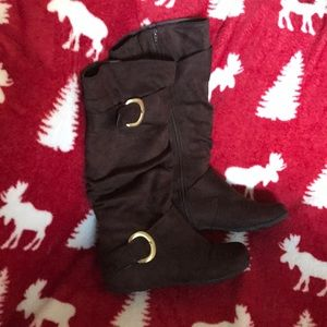 Shoes - Tall Brown Suede Boots